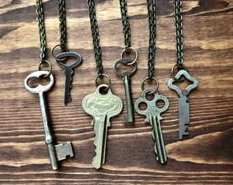 Vintage Mystery Key Necklace - Mothers Day Gift - Unique Bridesmaid Gift - Key to my Heart Necklace - Old Key Pendant - Upcycled Keys