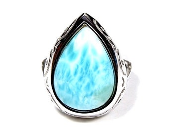 12x17mm High Quality Genuine AAA Dominican Larimar Inlay 925 Sterling Silver Ring size 6