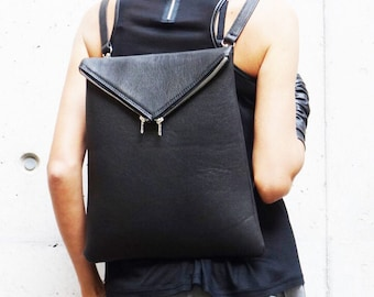 NEW Genuine Leather Black  BackPack  / High Quality  asymmetrycal zipper Bag by AAKASHA A14413