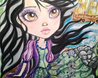 5 x 7 Mini Prints Fantasy Big Eye Horror Fairytale Art Prints by Leslie Mehl Art
