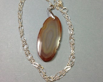 Brown Agate Slice Pendant 2.75 Inches Long on 22.5 Inch Long Silver Chain One of a Kind Previously 29 Dollars ON SALE