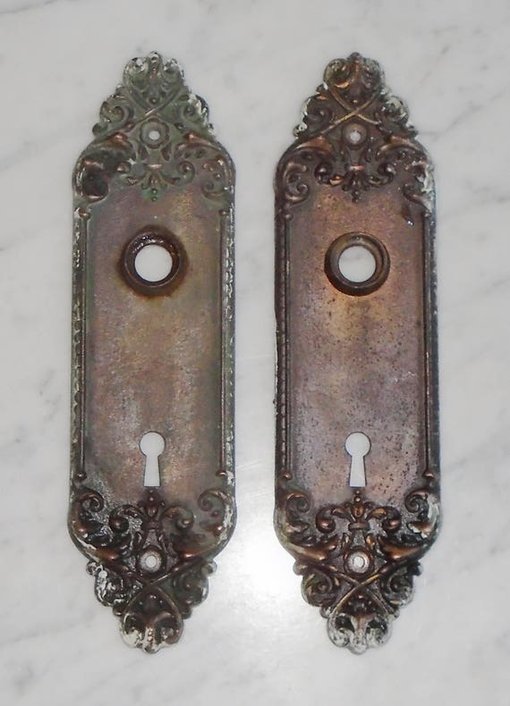 Matching Set of 2 Antique Gothic Victorian Door Knob Skeleton Key Plate Covers from BooksShop on Etsy Studio & Matching Set of 2 Antique Gothic Victorian Door Knob Skeleton Key ...
