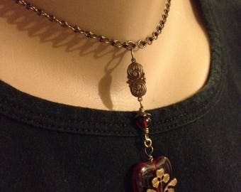 Red Heart and Antiqued Brass Choker Necklace