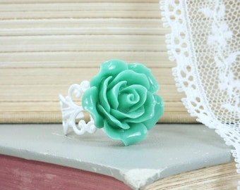 Teal Rose Ring Rose Cabochon Ring Teal Rose Jewelry Victorian Ring Green Rose Ring Adjustable Ring