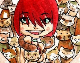 Cats- ACEO orginal watercolor painting