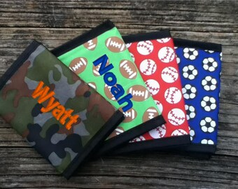 KIDS PERSONALIZED WALLETS - Nylon Trifold Camo and Sports, Camouflage, Soccer, Baseball, Football, Basketball