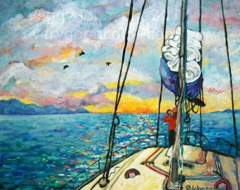 sailing sunset vivid yellow blue impressionistic CANVAS or PAPER giclee print choose your size Peggy Johnson everygoodcolor