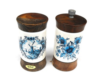 1930s Dutch Delft Salt & Pepper - Pemy Antique Blue Holland Windmill Country Cottage Floral Porcelain Wood Grinder Forged Steel Serving Set
