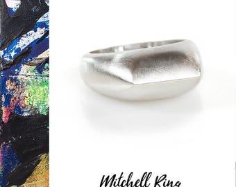 Brushed Silver Ring, Silver Peak Ring, Modern Silver Ring, Recycled Silver Ring, Minimalist Silver Ring, Reclaimed Silver, Artisan Ring