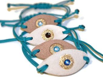 Evil eye  bracelet, macrame bracelet,ceramic bracelet, ceramic jewelry, good luck bracelet, turquoise bracelet, boho summer bracelet, gift