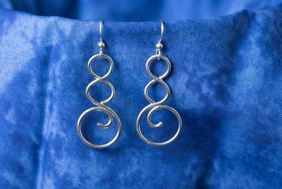 Sterling Silver Loop Earrings, Handmade Silver Earrings, Triple Loop Earrings, Silver Dangle Earrings, Simplicity Earrings,