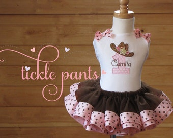 YeeHaw! Cowgirl Birthday TutuOutfit- Pink and brown- Includes top, DARLIN' tutu - Can be made to match your party colors
