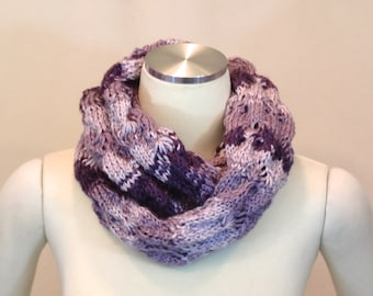 Scarf, Knit Purple Scarf, Lavender Cowl,  Lilac Mobius Circle Scarves, Eggplant Ombre Slouchy Neck Warmer - Chunky Eternity Loop Scarf Snood