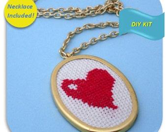 Red Heart Necklace - Cross Stitch DIY Kit