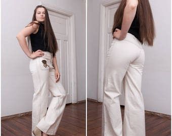 70s Bell Bottoms High Waisted Flared Jeans Ivory Denim Bell Bottom Pants Wide Leg Jeans Womens W29 L31 Flares Small Off White Flared Pants