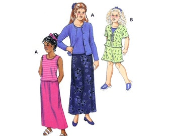 1999 Kwik Sew 2824 Girls' Tops, Cardigans and Skirts All with Sleeve and Length Variations, Uncut, Factory Folded Sewing Pattern Size 8-14