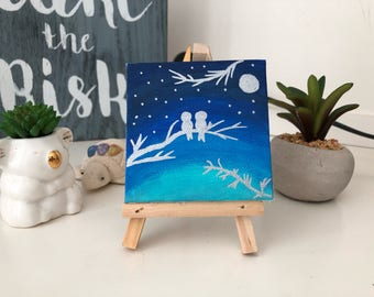 Mini Canvas Painting with Easel, Birds Blue Sky