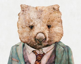 WOMBAT Art Print, Wombat Illustration, Australian Animals, Animal Wall art, Animals in Suit, Boys Room Poster, Wombat Painting
