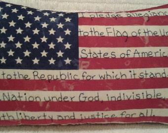 Handmade, Primitive, Americana, Patriotic, Flag, Pillow, Hand Embroidered, Pledge Of Allegiance