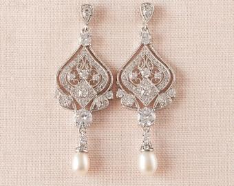 Pearl Bridal Earrings, Wedding Earrings, Crystal Bridal Jewelry, Vintage Style, Long Bridal Earrings, Freshwater pearls, Danella Earrings