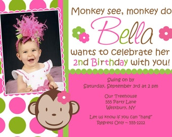 Monkey birthday invitation girl monkey birthday invitation mod monkey birthday invitation mod monkey girl matching party printables available filmwisefo Gallery