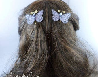 Butterfly clips anti-slip silk gray purple body beads and gold metal antennas, Ombre, spring - Apolline - made in France