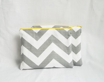 Set of 2 - Embroidered Makeup bag - Personalized Chevron Pouch - Bridesmaid clutches - Small