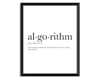 Algorithm definition, dictionary art print, office decor, minimalist poster, funny definition print, definition poster, quotes, christmas