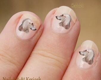 Saluki Nail Art, hond Nail Art Stickers, volwassene profiel, Saluki Nail Stickers, vingernagel Stickers, elegante windhond, Decals