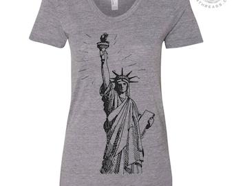 Womens LIBERTY Lightweight Tri Blend t shirt [+Colors] s m l xl xxl Hand Screen Printed Zen Threads