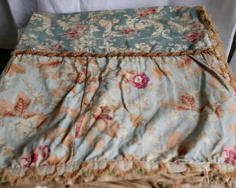 Antique Fabric French Floral Textile Blue Pink Panel -Roses Peonies - Decorative Antiques Furnishings - Interior Decor
