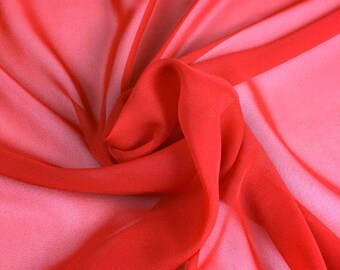 Supersoft Red Chiffon Fabric - 58 Inches Wide