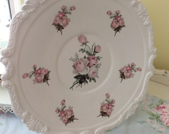Cottage White Frilly Edge  Silver plated Tray decoupaged w/ Pink Rose Pink