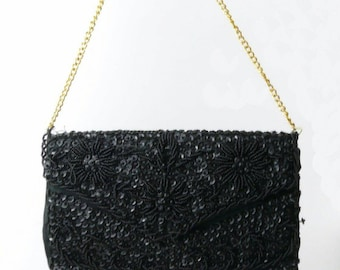 Black Floral Sequin And Beaded Evening Bag With Gold Chain Handle • Made In Hong Kong • Vintage 1950s