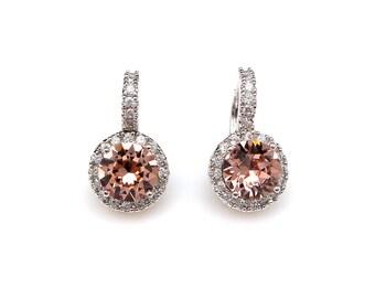 bridal earrings wedding jewelry prom AAA cubic zirconia deco swarovski round vinage rose rhinestone white gold click style leverback hoop