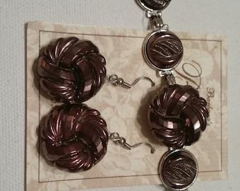 VINTAGE GLASS BUTTON Bracelet and Earrings West German Glass Mauve Hand Blown Buttons