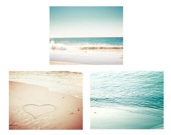 dreamy beach photography set nautical decor 5x7 8x10 fine art photography ocean heart photography romantic cream teal aqua water ripples
