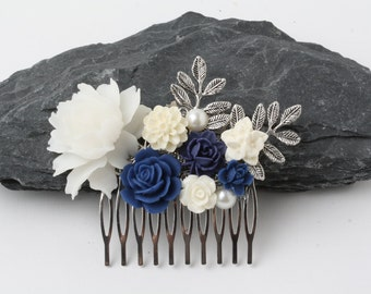 Navy hair comb, Bridal Hair comb, Floral hair comb, Navy Headpiece, Woodland, Rustic wedding hair accessories, navy and white, navy wedding