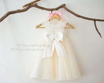 Beaded Ivory Lace Champagne Tulle Wedding Flower Girl Dress with Big Bow M0071