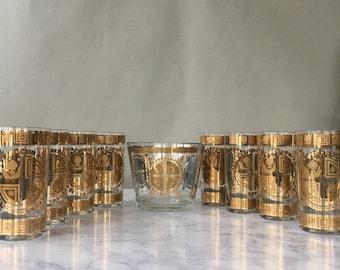Vintage Culver Glass Highballs and Ice Bucket, mid century modern barware, Culver Coronet, hollywood regency bar, MCM gold glassware