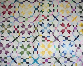 FARMERS DAUGHTER QUILT - Queen Size - multicolored - off white - measures  95 X 95 inches