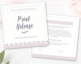 Photography Print Release Template, Photographer Form Template, Photoshop Template, PSD,  INSTANT DOWNLOAD
