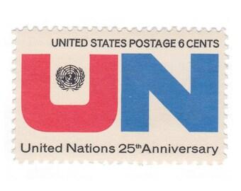10 Unused Vintage Postage Stamps - 1970 6c United Nations - Item No. 1419