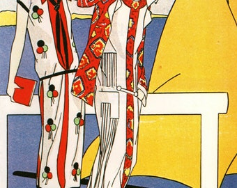 Authentic 1979 Vintage Art Deco Fashion Print Art, Gout, Beaute
