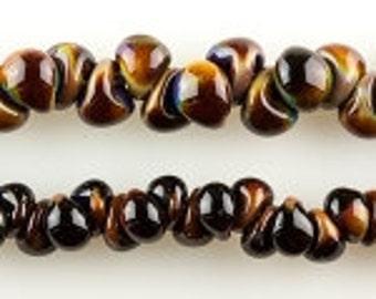 10 Mini Teardrop Handmade Lampwork Beads --Americano 4mm (2544)