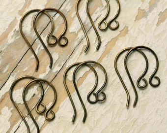 Bulk Handmade Antiqued Brass Ear Wires, 20g - Solid Brass Round Loop Earwires, Oxidized Findings, 50 Pair