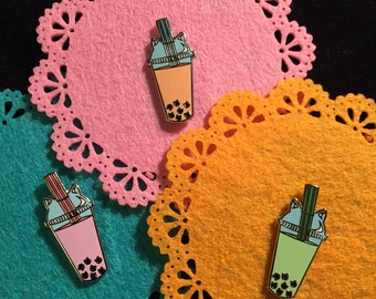 Boba Tea Cat Pin, Boba Enamel Pin, pink, green, brown