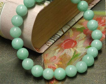 Natural Amazonite Stone Bracelet, Stackable, Stretch Bracelet, Natural Stone