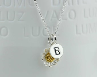 Silver and Gold Daisy Necklace Personalised with a Solid Silver Stamped Initial Charm