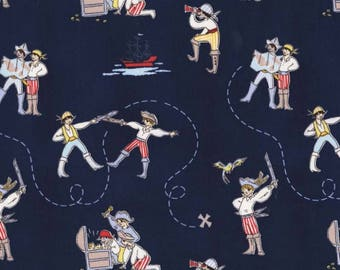 Pirate Fabric, Sarah Jane Fabric, A Pirates Life Fabric  Free Domestic Shipping for orders over 50.00